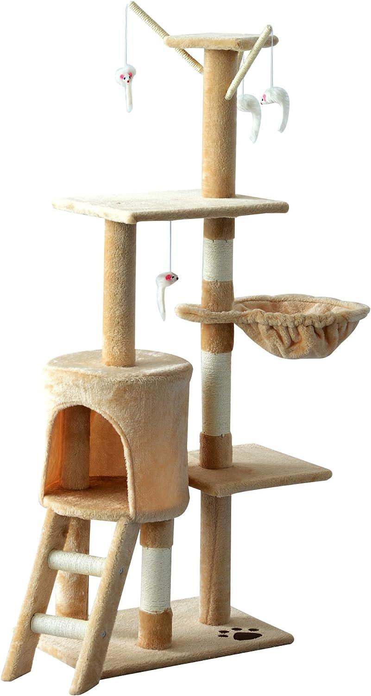 PawHut Árbol para Gatos Rascador Grande con Nidos Plataformas Casetas Ratón de Juego 131cm Cubierto de Felpa Beige