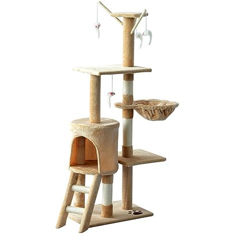 PawHut Árbol para Gatos Rascador Grande con Nidos Plataformas Casetas Ratón de Juego 131cm Cubierto de