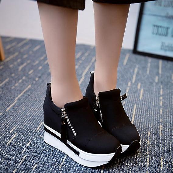 Zapatos mujer plataforma, ❤️Amlaiworld Zapatos casuales de moda de mujer Botas de cuña para mujer Zapatos de plataforma Botas de tobillo con cordones ...