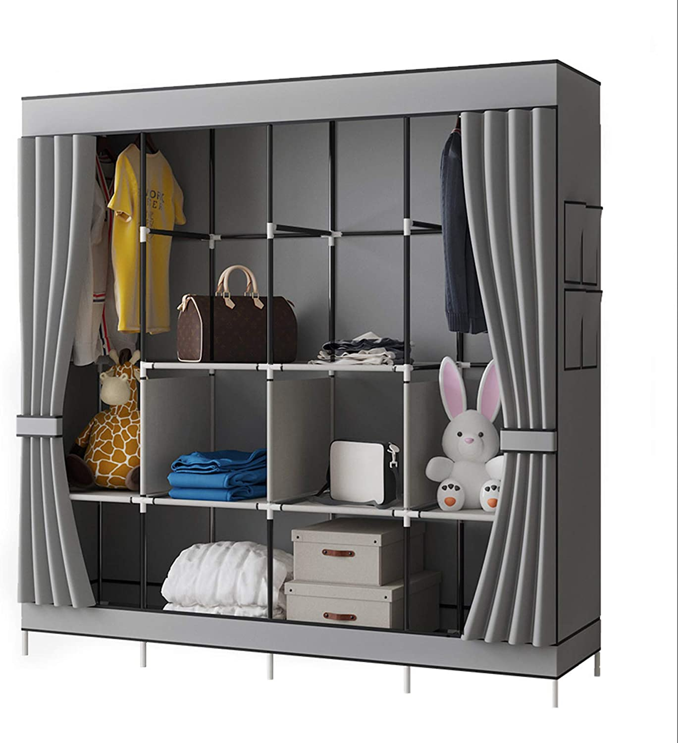 Triple Canvas Wardrobe Hanging Clothes Cupboard Rail Storage Organiser Shelves