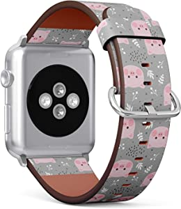 Compatible with Apple iWatch Series 1/2/3/4 (38mm & 40mm), Replacement Leather Bracelet Wristband Strap [ Cute Pig ]
