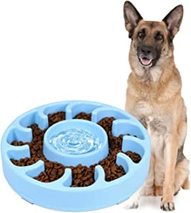 JASGOOD Slow Dog Bowl for Large Dogs,Anti-Gulping Dog Slow Feeder Stop Bloat,Slow Eating Big Pet Bowl (B-Blue)