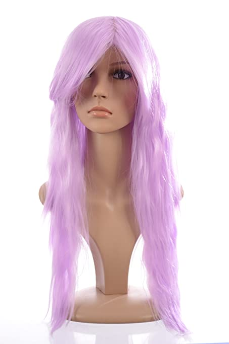 Peluca para cosplay de pelo de MissTress Pastel Violet Avril estilo lavigne largo engarzado flecos morados