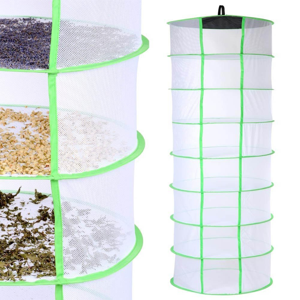 Rokoo strati 8scomparti pieghevoli Hanging Dry net erba aromatica rack per germogli fiori pianta idroponica