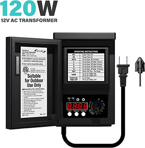 Amazon Com Malibu Low Voltage Transformer 120 Watt For Outdoor Landscape Lighting With Photocell Sensor Timer And Weather Shield For Spotlight Floodlight Garden Pathway Light 120v Ac To 12v Ac Home Improvement