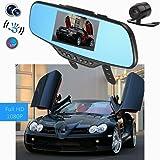 Audew 4.3 Pouce HD 1080P Moniteur Rétroviseur Caméra de Voiture DVR Vidéo Enregistreur de Conduite Auto Double Lentille