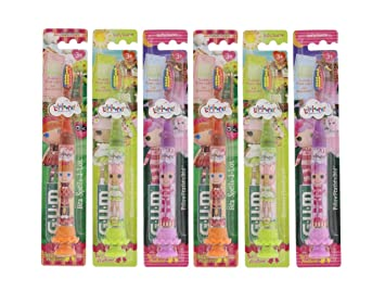 GUM Lalaloopsy Childrens Timer Light Toothbrush with Suction Cup Base for Little Girls and Boys,