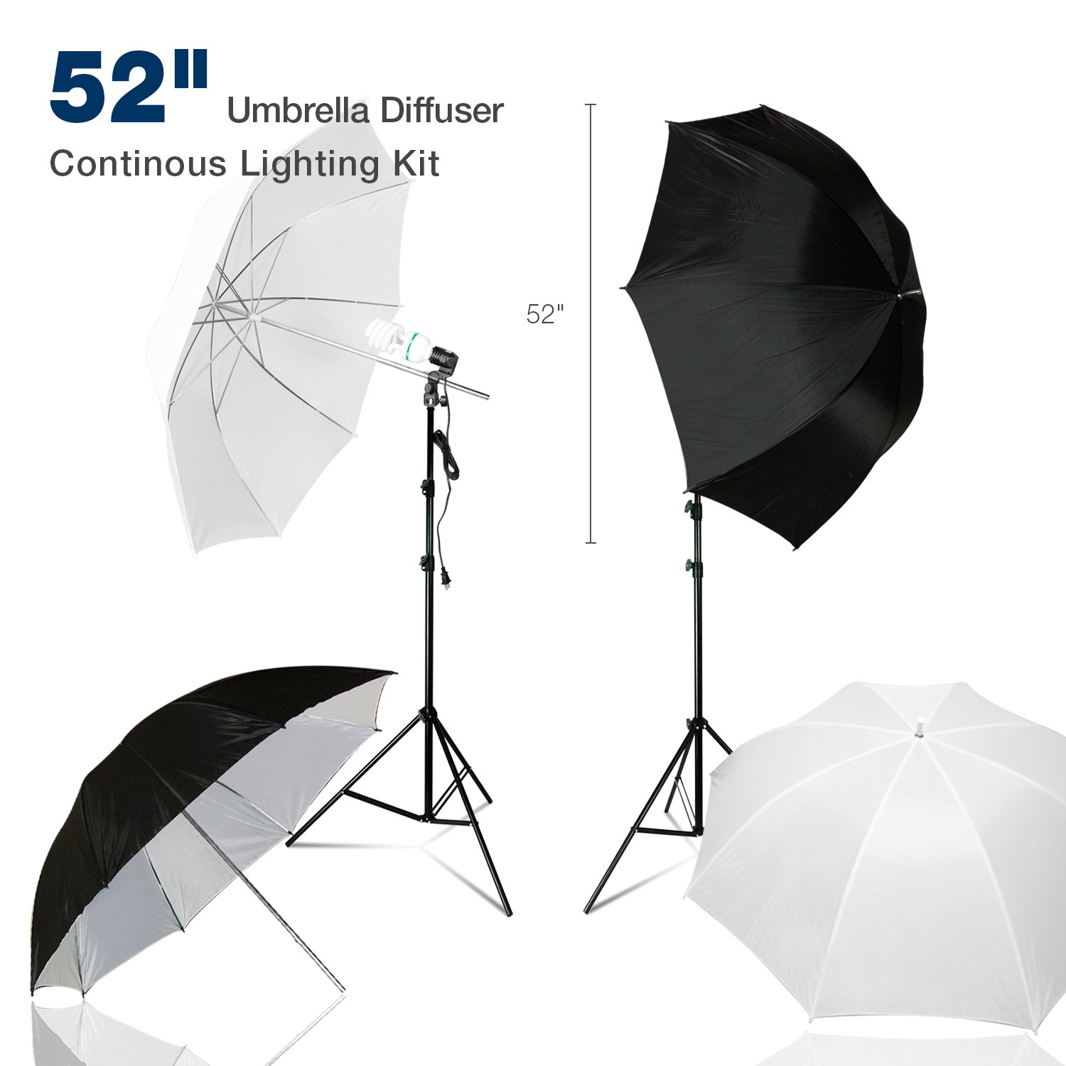 """Lusana Studio 52'' Double Layer Umbrella Diffuser Continuous Lighting Kit with Light Stands, 52"""" Double Layer Black/White and White Umbrellas and Bulb Light Sockets for Photo Video Studio, LNA1027"""