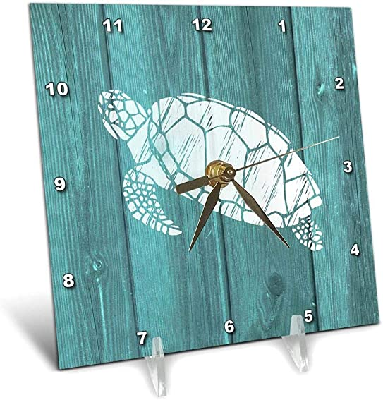3dRose Turtle Stencil in White Over Teal Weatherboard- Not Real Wood – Desk Clock, 6 by 6-Inch dc_220428_1