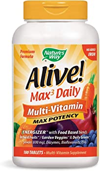 180 Count Natures Way 0678136 Alive Multi-Vitamin No Iron Added Tablets