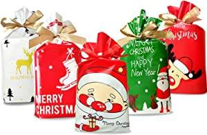 50 Pcs Christmas candy bag Christmas treat bags Candy Goodies Plastic Drawstring Gift Bags Merry Christmas Treat Bags for Birthday Party Snack Wrapping Wedding Gift Party Favor Merry X-mas