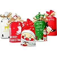 50 Pcs Christmas Candy Bag Christmas Treat Bags Candy Goodies Plastic Drawstring Gift Bags Merry Christmas Treat Bags…