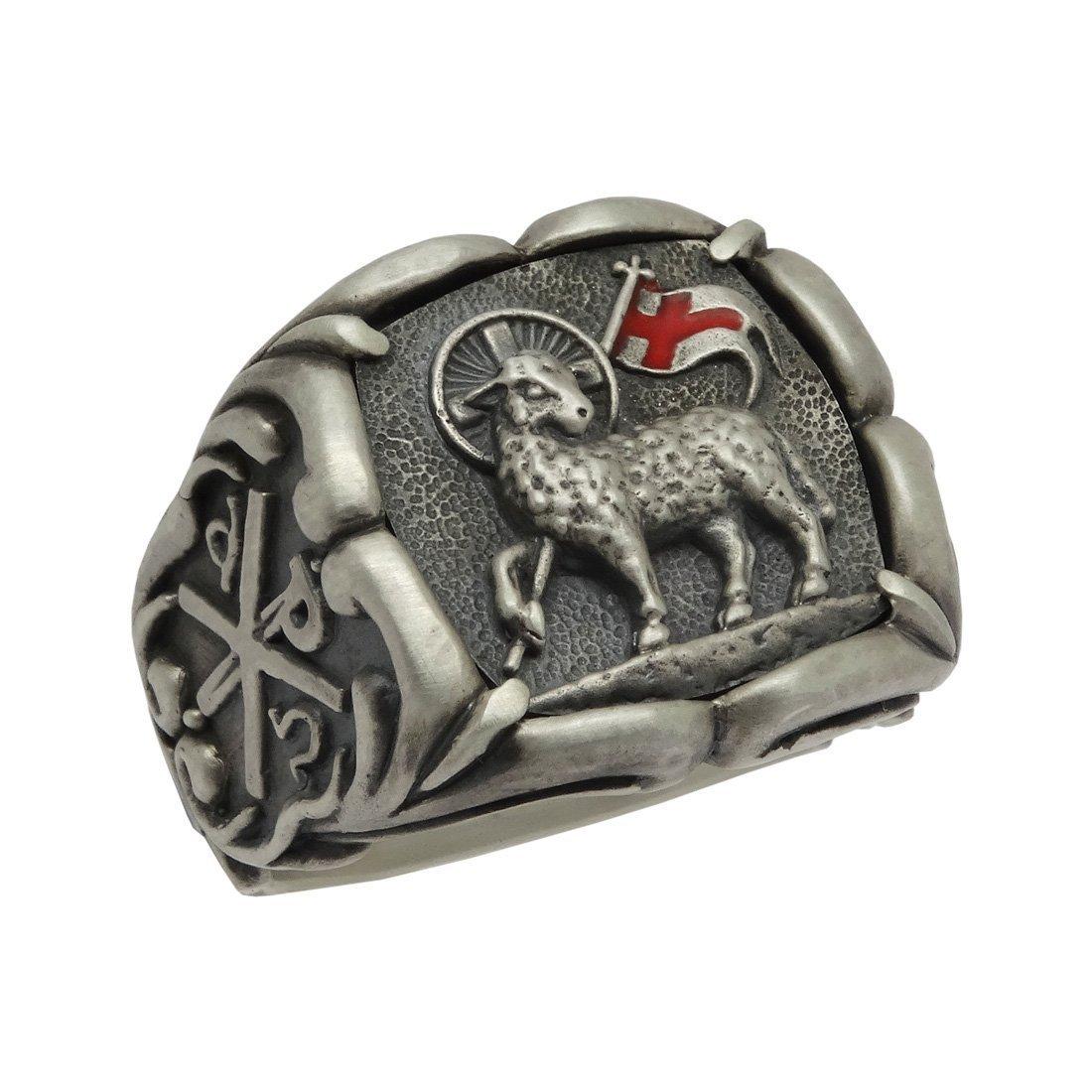 Handcrafted Lamb of God Sterling Silver 925 Knight Templar Men Chi Rho Ring Masonic