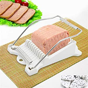 Durable Luncheon Meat Slicer, Stainless Steel 10 Wires Slicer Food Cutter Kitchen Gadget for Ham Cheese Egg Vegetable Fruit Soft Food Sushi Cutting (White)