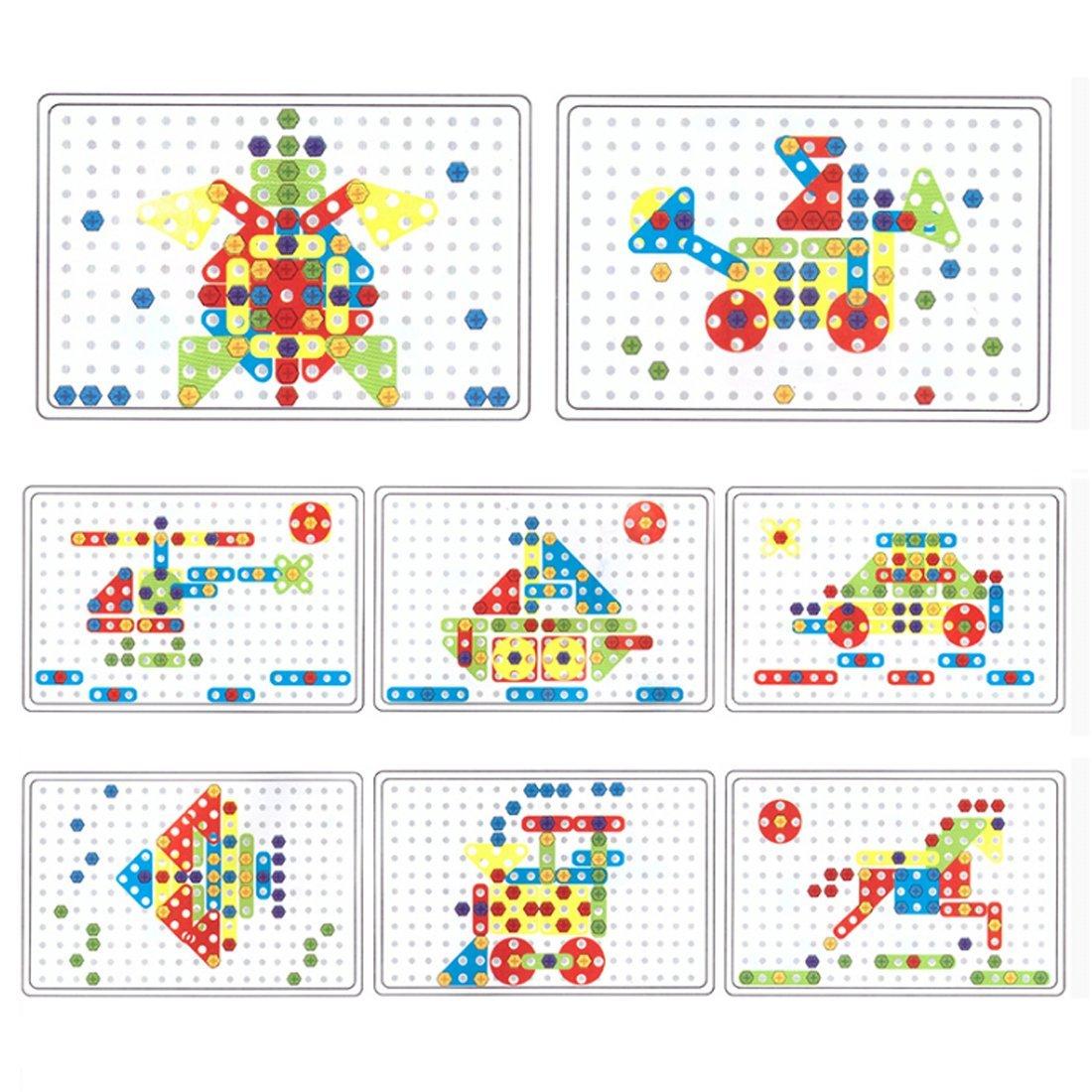 Jeu de Construction Mosaique Jouet Assemblage avec Perceuse /Électrique Jeux Educatif Cadeau pour Enfant Fille Garcon 3 Ans+ lodogsow Mosaique Enfant