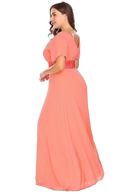Zeagoo Womens Plus Size Chiffon V Neck Short Sleeve Maxi Formal Dresses Party Dress at Amazon Womens Clothing store:
