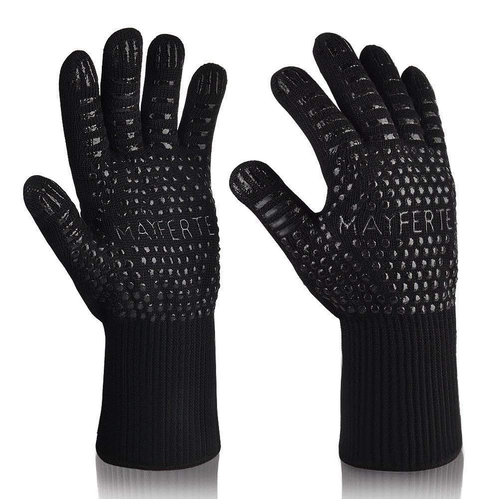 ZJYSM Comfortable Wearable Flexible Lightweight Smart Black Aramid Barbecue Gloves BBQ Gloves High Temperature Gloves Double Heat Resistant BBQ Oven Gloves Gloves