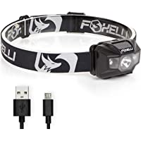 Foxelli USB Rechargeable Headlamp Flashlight - 180 Lumen, up to 40 Hours of Constant Light on a Single Charge, Bright…