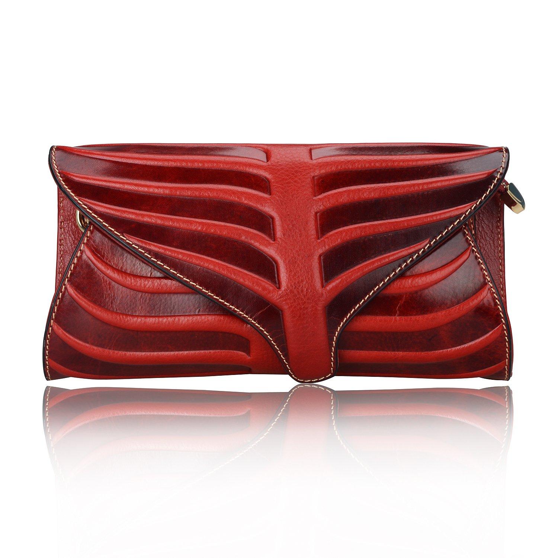 Pijushi Leaf Designer Handbags Embossed Leather Clutch Bag Cross Body Purses 22290 (One Size, Red) by PIJUSHI (Image #1)