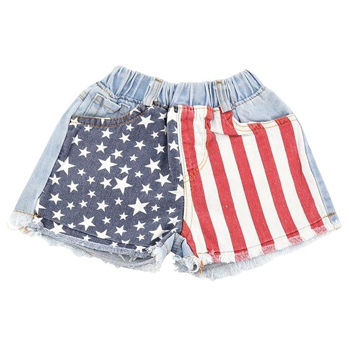 3821a8857f1 Amazon.com: Unique Baby Girls American Flag 4th of July Denim Shorts ...