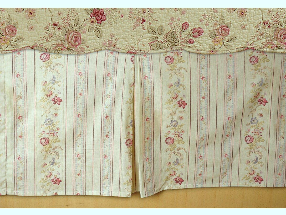 コッテージロマンチックキルトセット シャム付き フローラルローズ柄 クリームイエロー ラグジュアリー100%コットン リバーシブル寝具 - ベッドシートストラップ付き Full Bed Skirt B01NBHT5AO  Full Bed Skirt