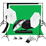 Julius Studio Photo Video Studio Photography Backdrop Support System Umbrellas Lighting Kit with 6 x 10 ft. Background Muslin, Backdrop Holder and Clamp, JSAG351