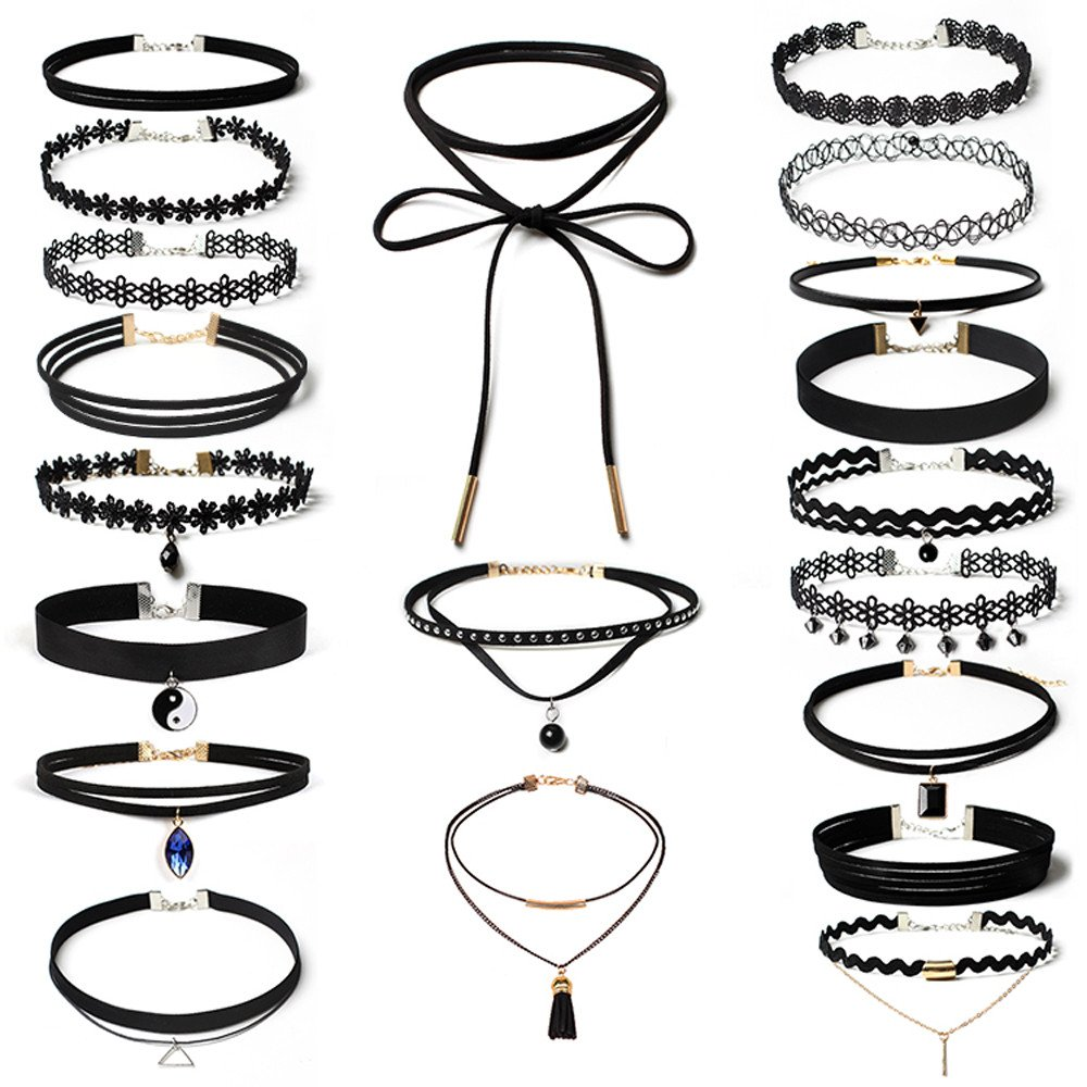 Fashion Jewelry for Women Sets,20Pieces Choker Necklace Set Stretch Velvet Classic Gothic Tattoo Lace Choker,Novelty Bracelets,Black,Women Jewelry