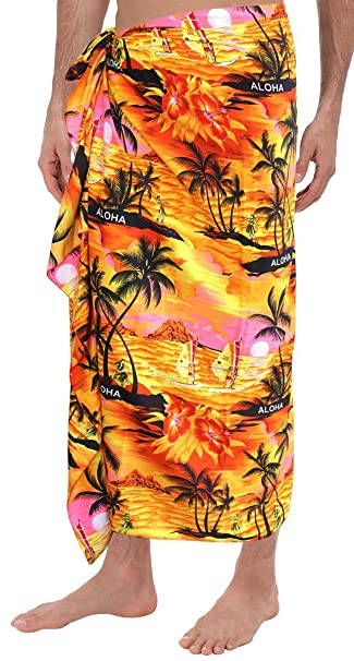 "853bd252f7a14 La Leela Soft Light Printed Hawaiian Beach Wrap Mens Swim 72""X42""  Orange_2812"