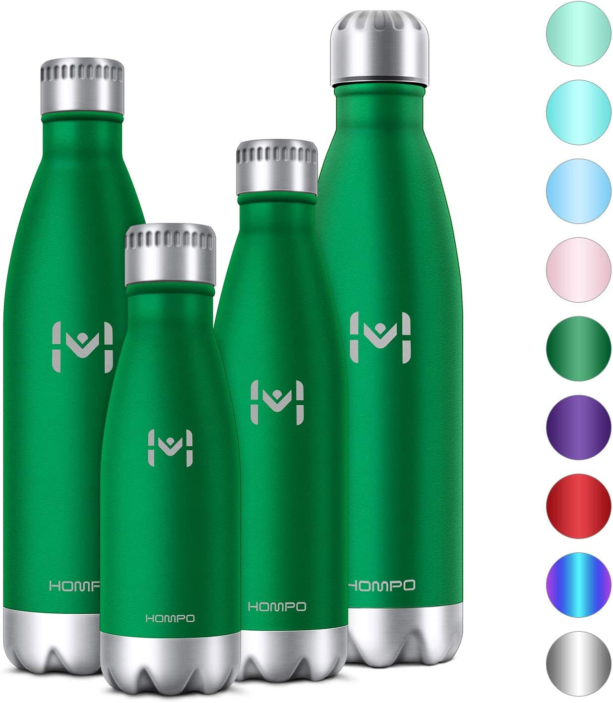 HOMPO BotelladeAguadeAceroInoxidable BotellaTermica500ml, BotellaSinBpa&EcoFriendly, Mantiene Bebidas frías por 24h y Calientes por 12h, AdecuadaparaViaje, Deporte, Bicicleta, Gimnas