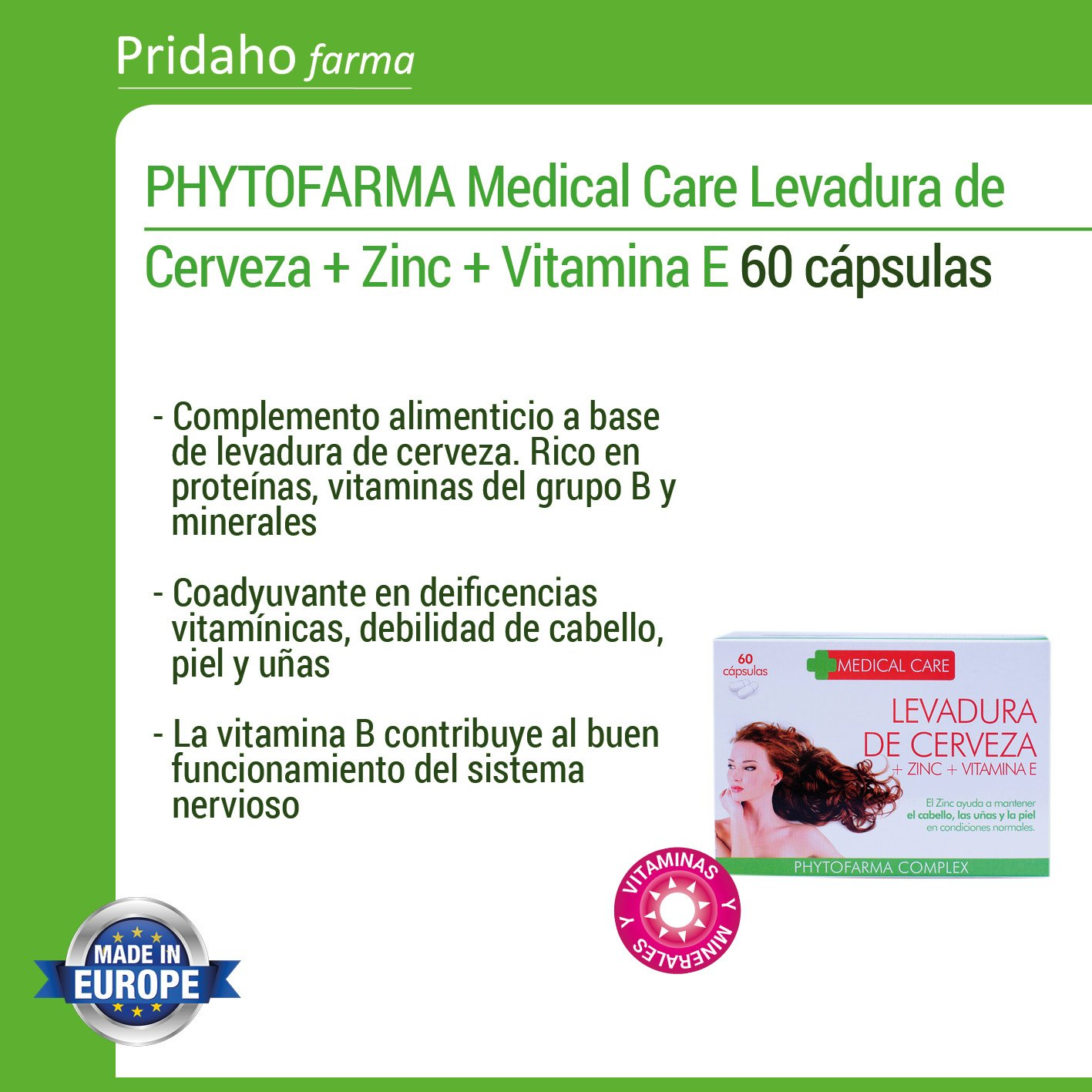 PHYTOFARMA MEDICAL CARE Levadura de Cerveza + Zinc + Vitamina E 60 cápsulas: Amazon.es: Belleza