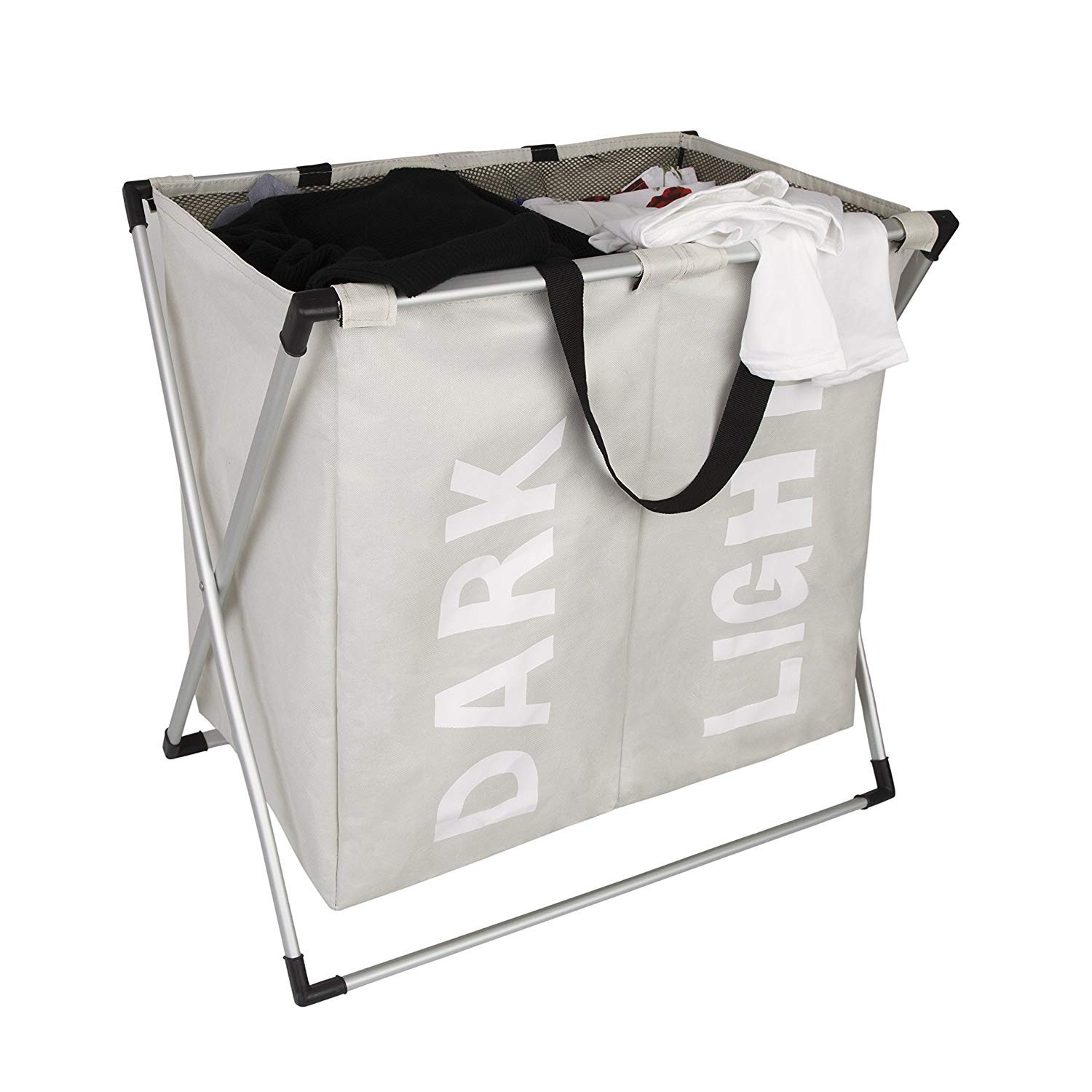WOWLIVE 2 Section Laundry Hamper X-Frame Double Laundry Basket with Aluminum Frame Durable Dirty Clothes Bag for Bathroom Bedroom Home (Beige)