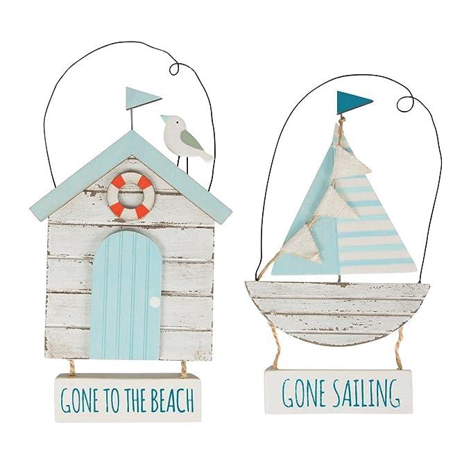 Sass & Belle - Caseta de Playa Gone To The Beach Shabby Chic de madera señal para colgar: Amazon.es: Hogar