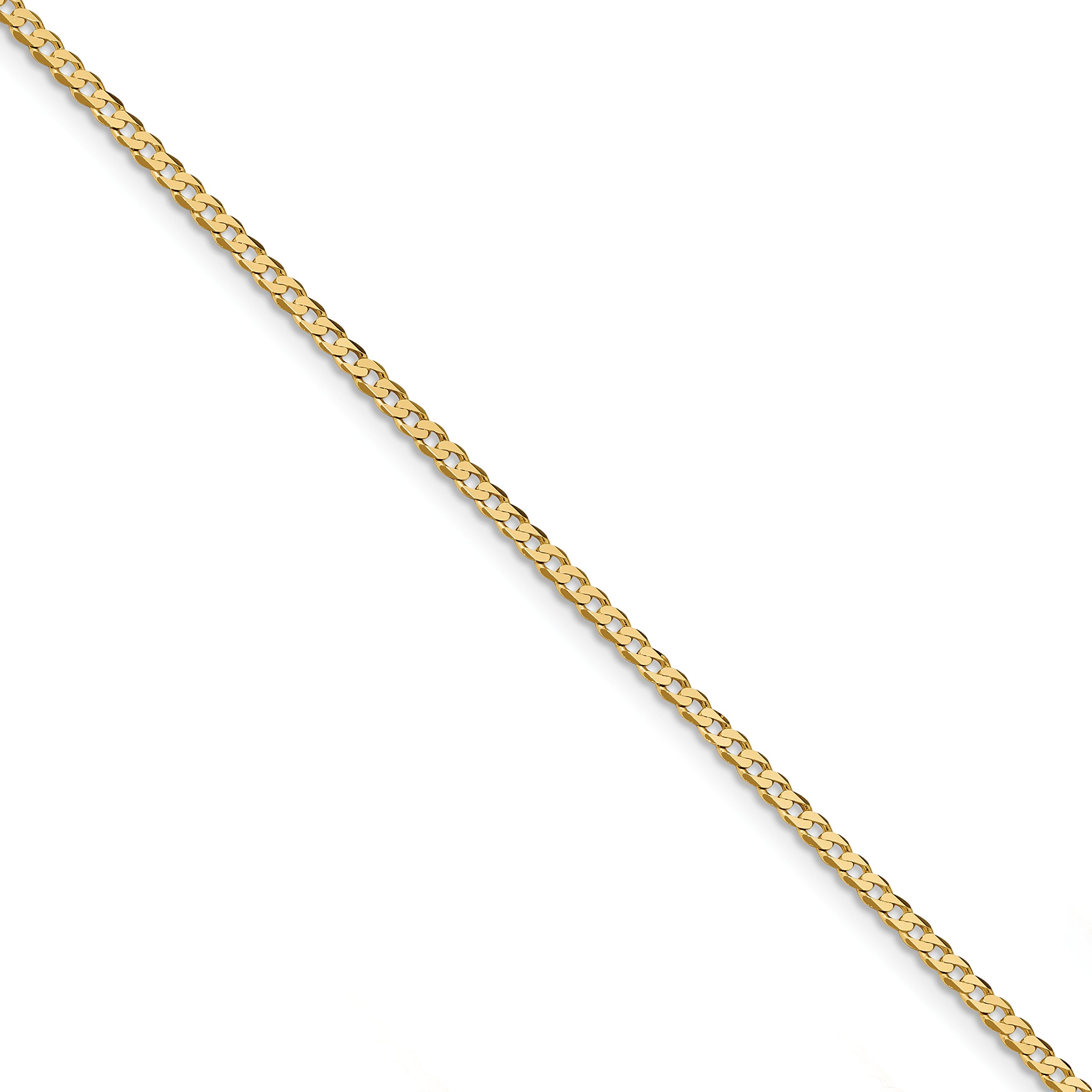 ICE CARATS 14k Yellow Gold 2.3mm Beveled Link Curb Bracelet Chain 7 Inch Rope Fine Jewelry Gift Set For Women Heart