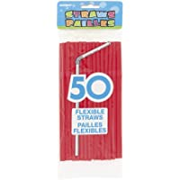 Plastic Red Flexible Drinking Straws, 50ct