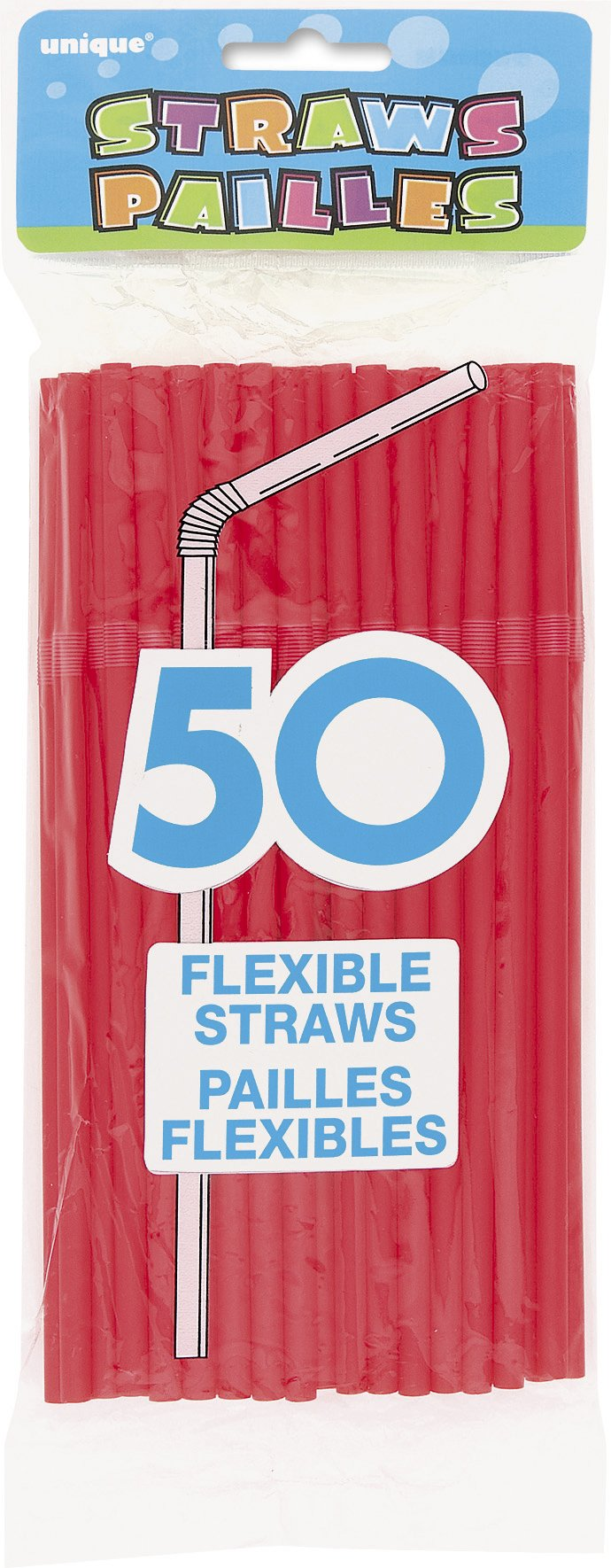 Flexible Plastic Drinking Straws, Red, 50ct