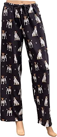 Jack Russell Terrier Unisex Lightweight Cotton Blend Pajama Bottoms – Super Soft and Comfortable – Perfect for Jack Russell Terrier Gifts (Medium) Blue