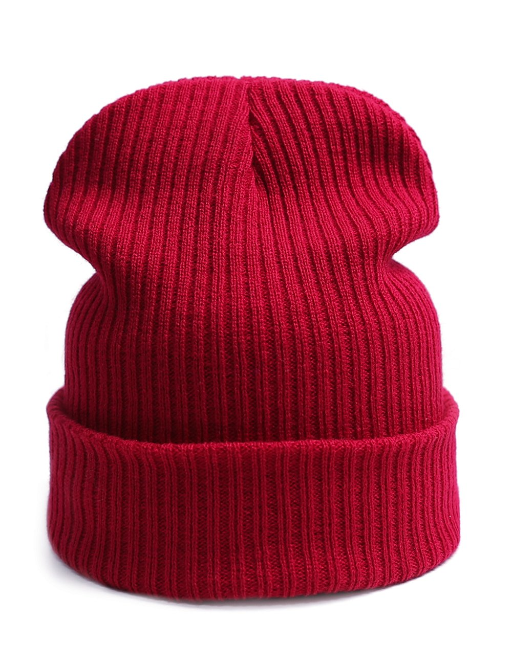 EVRFELAN Slouchy Beanie Casual Knitted Winter Hat Cuffed Plain Warm Cap Pure Color Simple Skull Cap for Women Men(Dark red)
