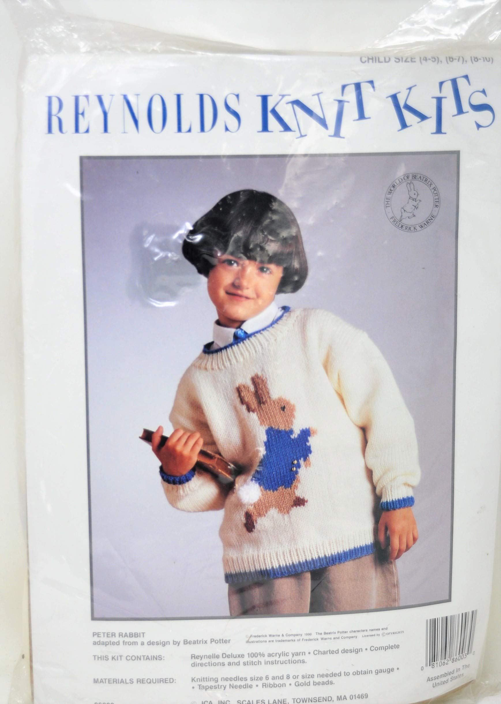 Vintage Reynolds Knit Kits Child Sweater Beatrix Potter Petter Rabbit