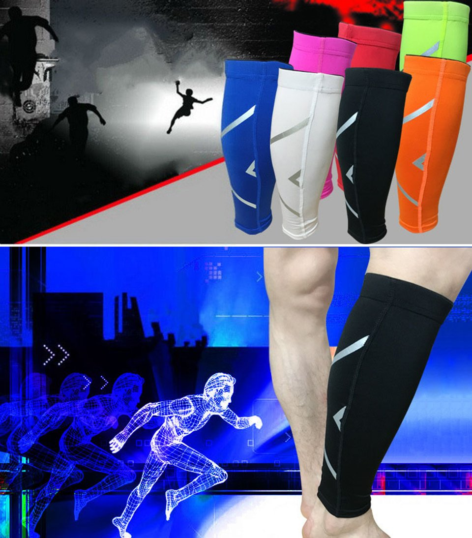 GSXT Calf Compression Sleeves for Men & Women - Leg and Shin Compression Sleeves for Runners, Cyclist - Shin Splint, Blood Circulation and Recovery Aid (1 Pair) (Large, Black)