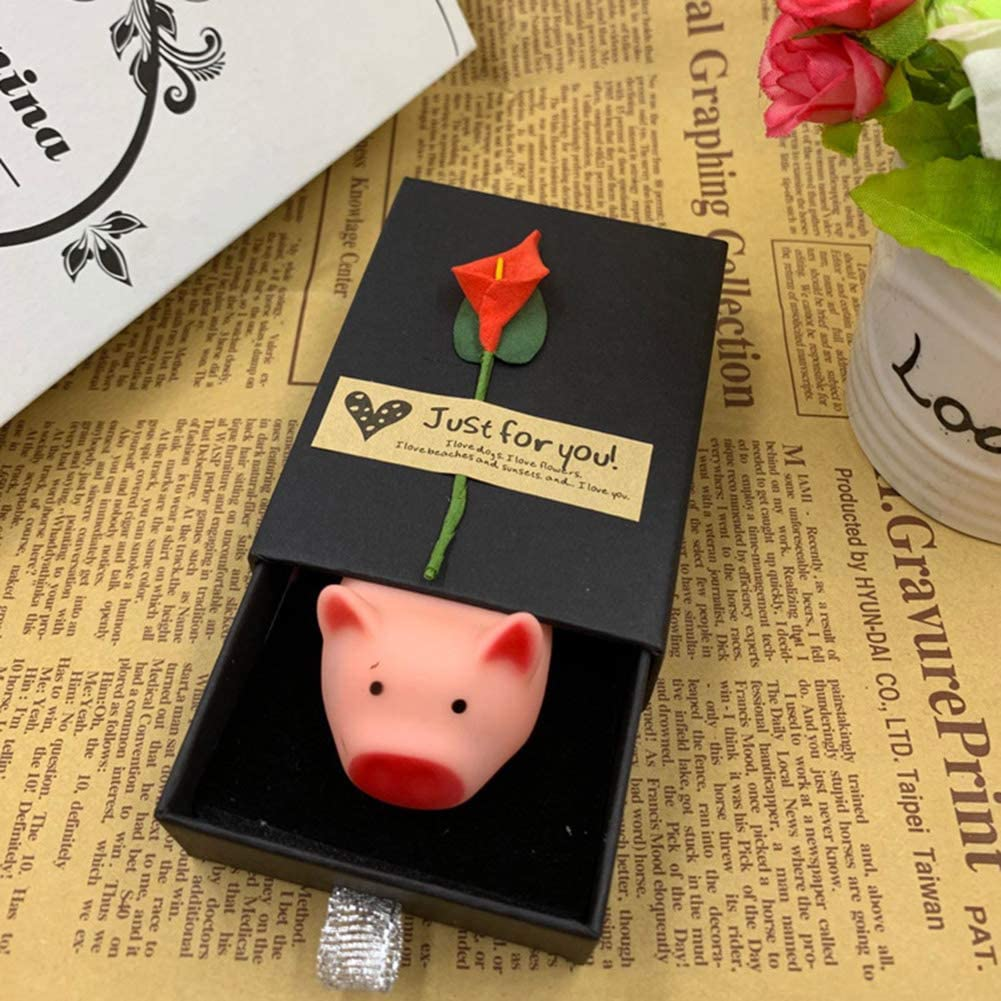 Catkoo Pig Animal Soft Squeaky Doll con Caja De Regalo Que Aprieta El Juguete Flotante del Baño del Bebé, Entrenamiento Perfecto Regalos De Inteligencia para Niños Caja Negra Flor + Cerdo: Amazon.es: