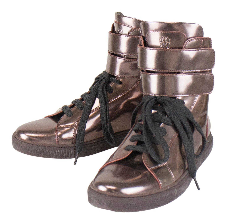 Brunello Cucinelliブラウンパテントレザーハイトップスニーカー靴サイズ41 / 11   B01NBTUJT8