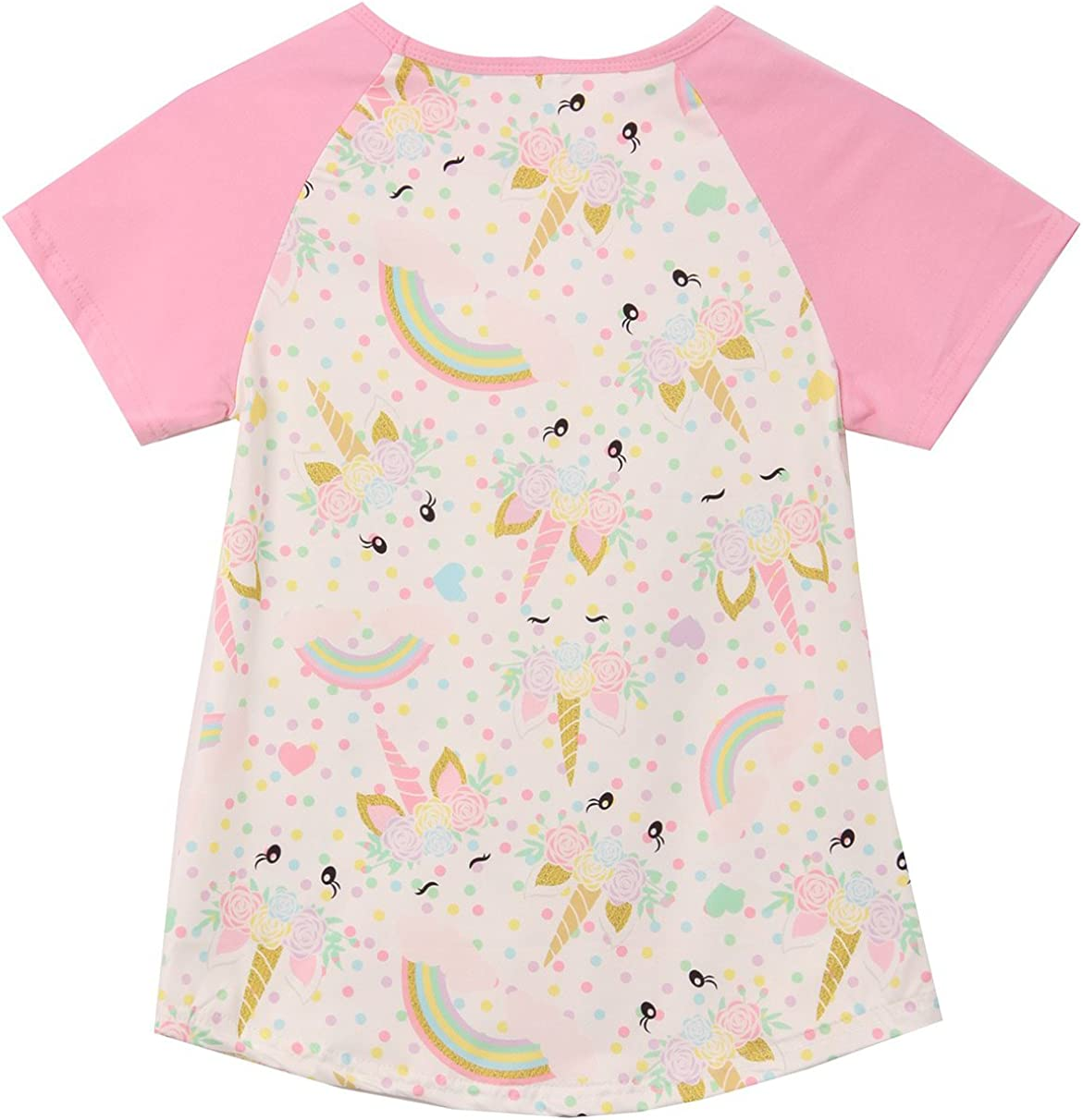 Little Girl Colored Short Sleeve Unicorn All Over Tee T-Shirt Top 2t-8