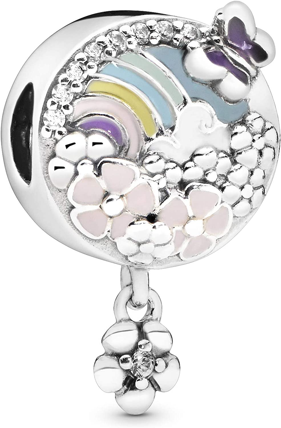 Pandora Jewelry Rainbow and Flower Dangle Cubic Zirconia Charm in Sterling Silver