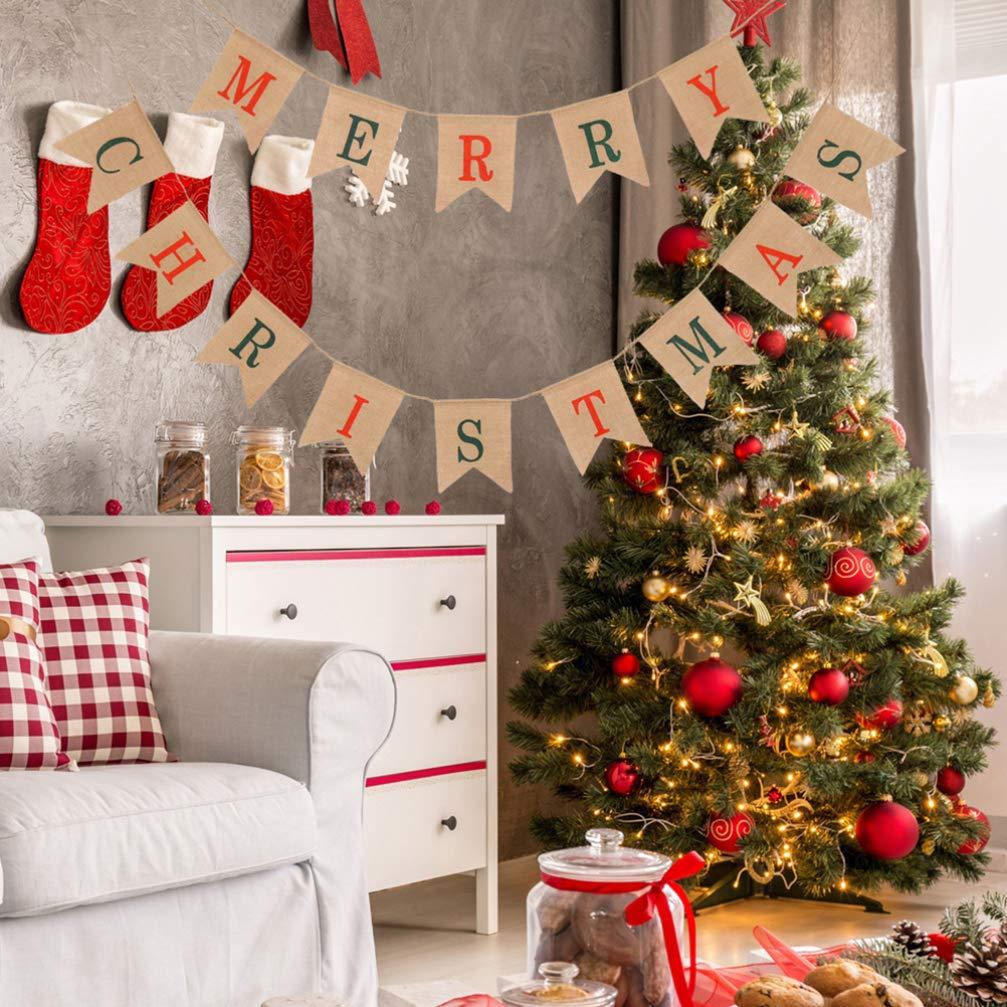 Amosfun Frohe Weihnachten Sackleinen Banner Girlande Girlande h/ängen Weihnachtsdekoration Weihnachtsfeier Dekorationen liefert
