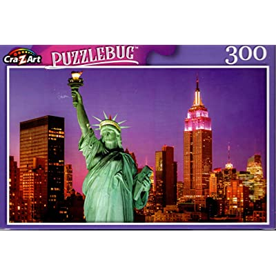 Statue of Liberty at Sunset and New York City Skyline - 300 Pieces Jigsaw Puzzle: Toys & Games