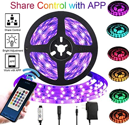 SFOUR LED Strip Lights,Waterproof 16.4ft RGB SMD 5050 LED Rope Lighting Color Changing Full Kit with 44-keys IR Remote Controller /& Power Supply LED Lighting Strips for Home Kitchen outdoor Decoration