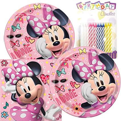Amazon.com: Minnie Mouse Temed Party Pack - Incluye platos ...