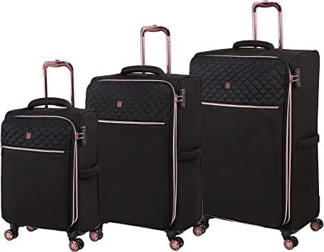 it luggage Divinity Softside Expandable TSA Lock Spinner, Black with Rose Gold Trim, 3-Piece Set (23/27/32)