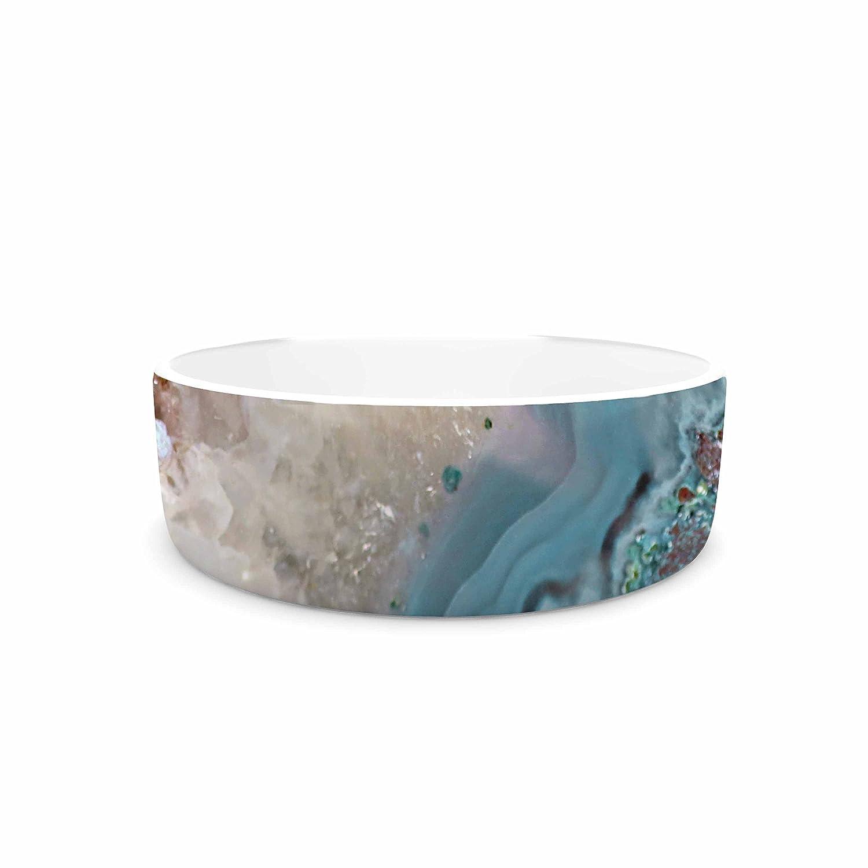 KESS InHouse Sylvia Cook Quartz Waves  bluee Brown Pet Bowl, 7