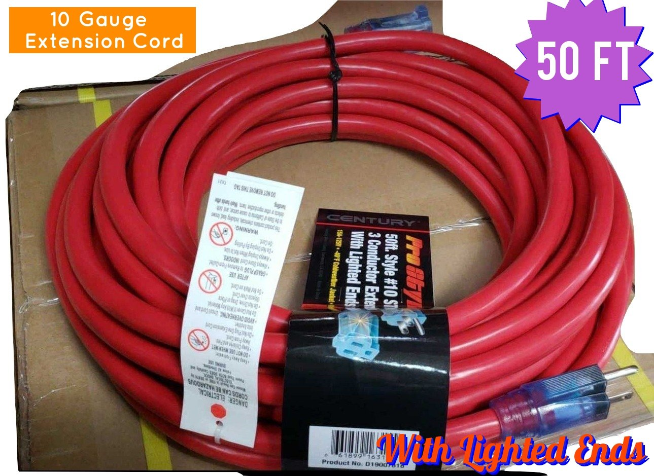 Century Contractor Grade 50 Ft 10 Gauge Power Extension Cord 3 Electrical Wiring Materials And Devices Plug Outdoor Great For Commercial Use Gardening